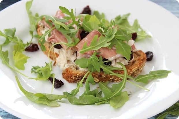 Open Faced Tart Cherry Prosciutto Sandwich