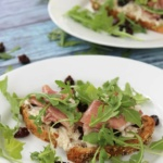 Open Faced Tart Cherry Prosciutto Sandwich