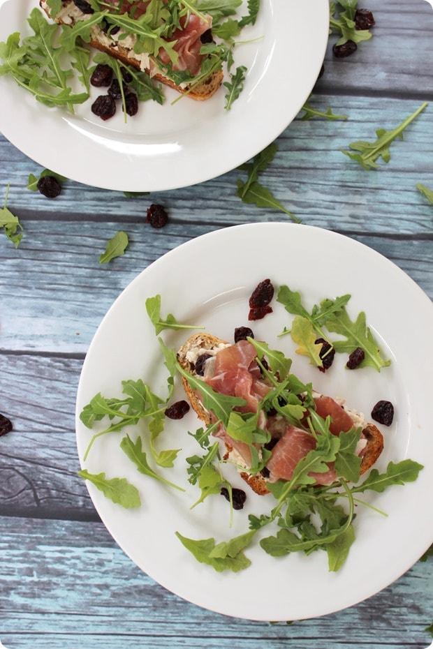 tart cherry proscuitto sandwich open faced