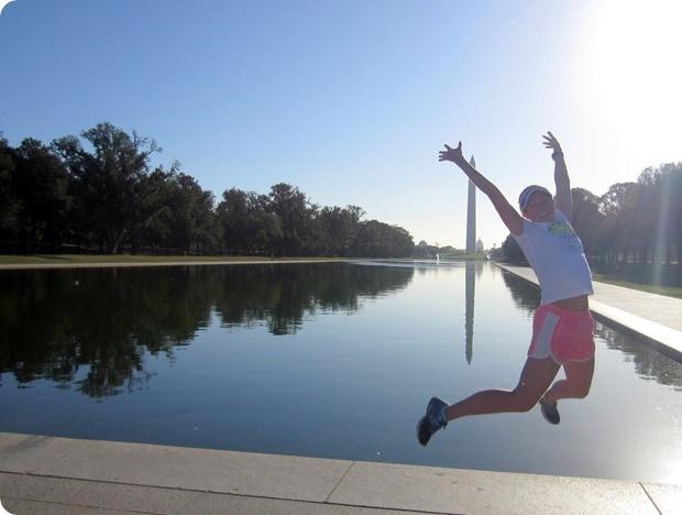 Washington Monument reflecting pool run