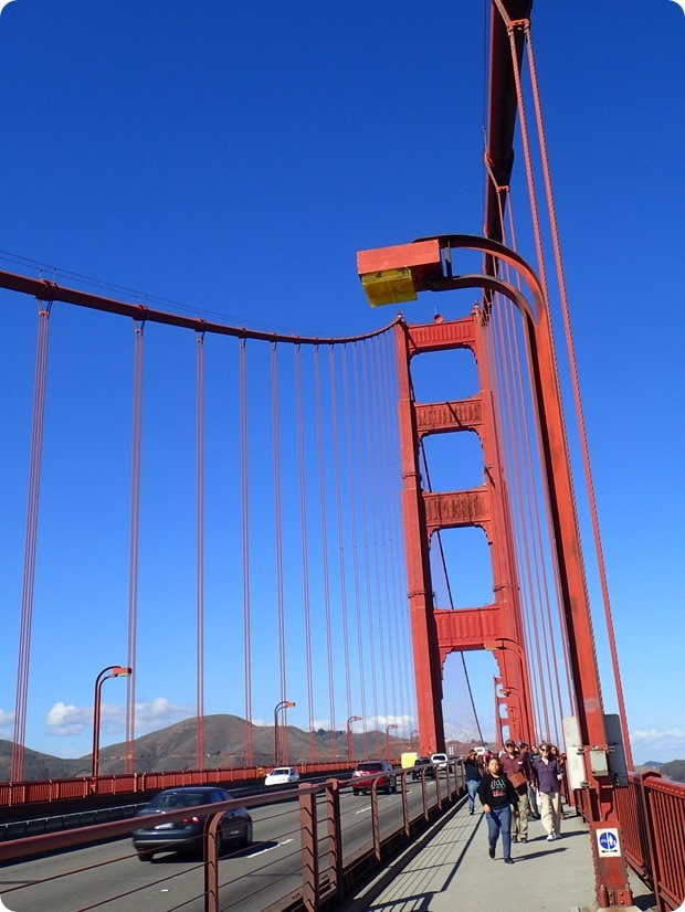 biking over the golden gate bridge