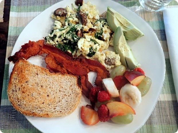 breakfast egg scramble with bacon and fruit