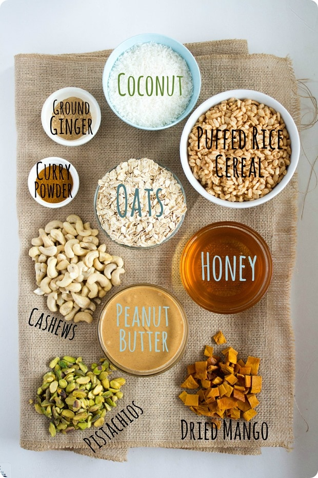 savory curry granola bar ingredients