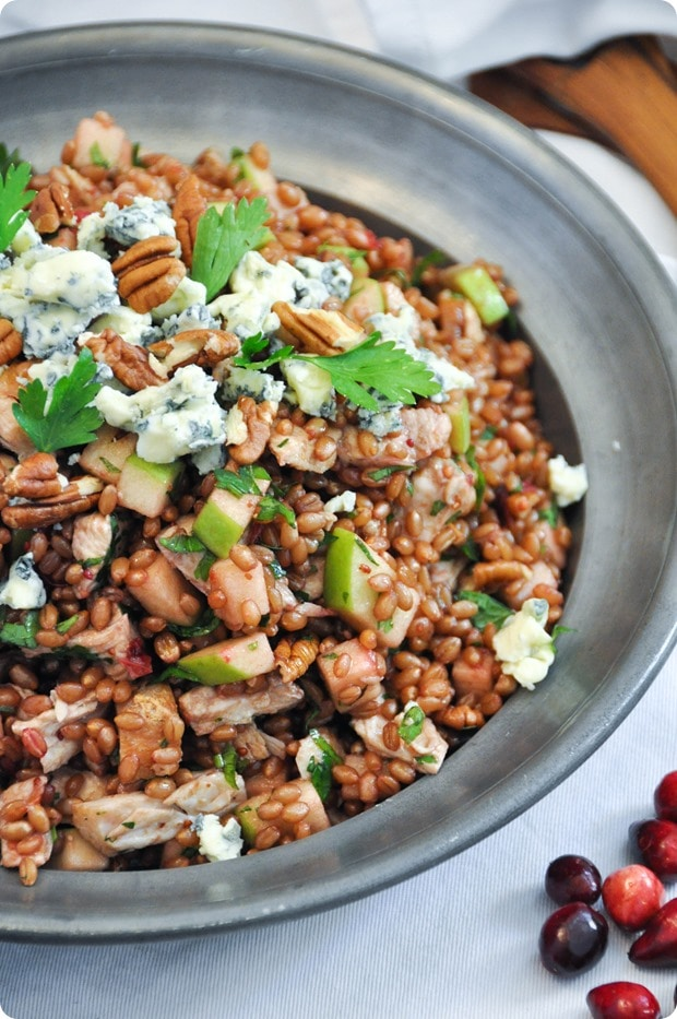 wheat berry salad with leftover turkey and cranberry vinaigrette