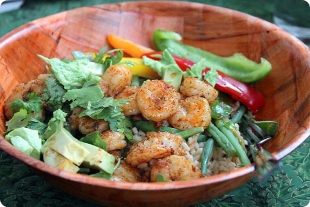 easy shrimp mexican lunch bowl