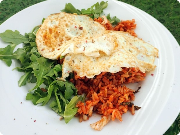 healthy eggs with rice breakfast