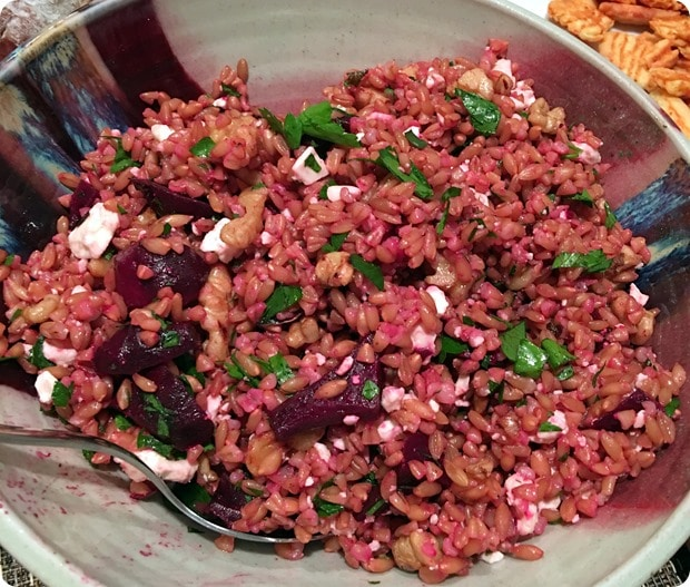 farro beet goat cheese salad