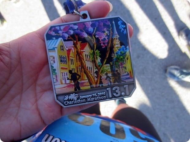 charleston half marathon race medal