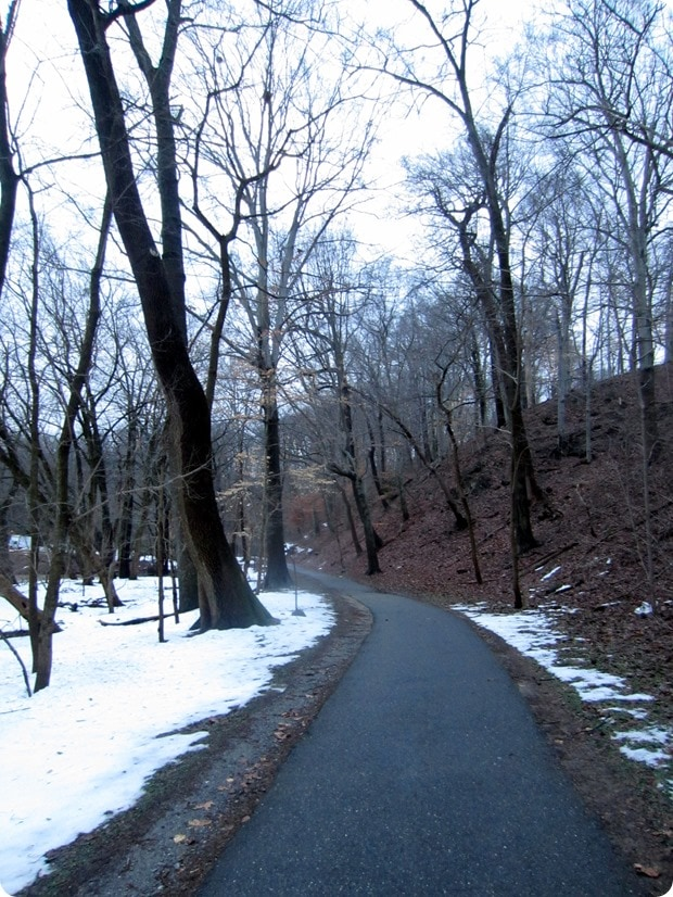 running in rock creek park snow