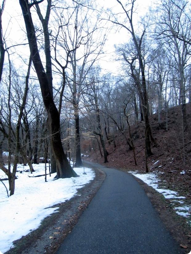 running in rock creek park snow