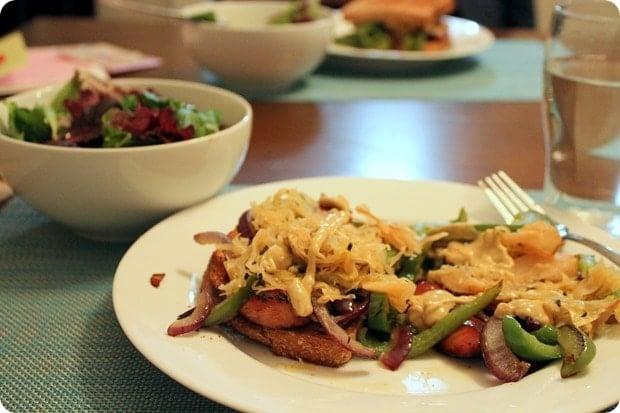 healthy sausage sauerkraut dinner