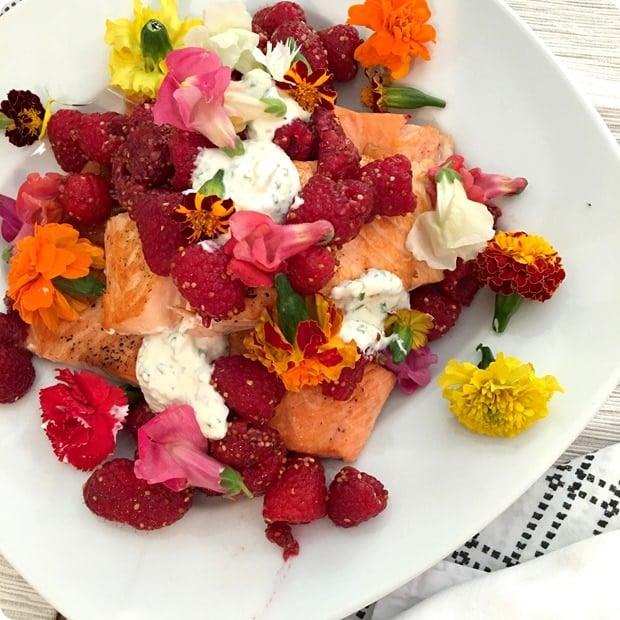 pan seared salmon with lemon yogurt and berries