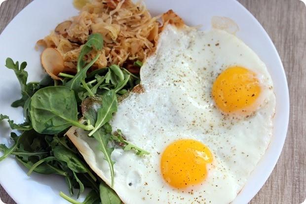 eggs and sauerkraut breakfast