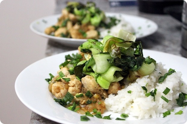 chicken with roasted bok choy and rice