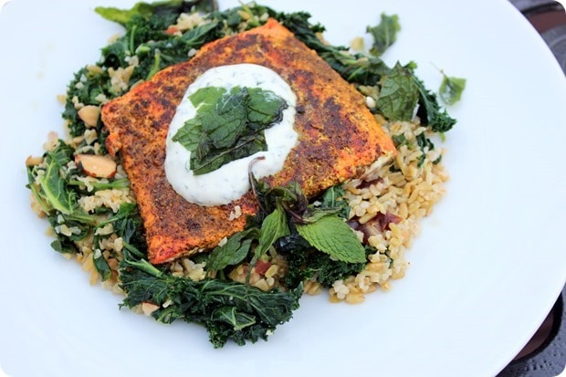 salmon with kale and yogurt
