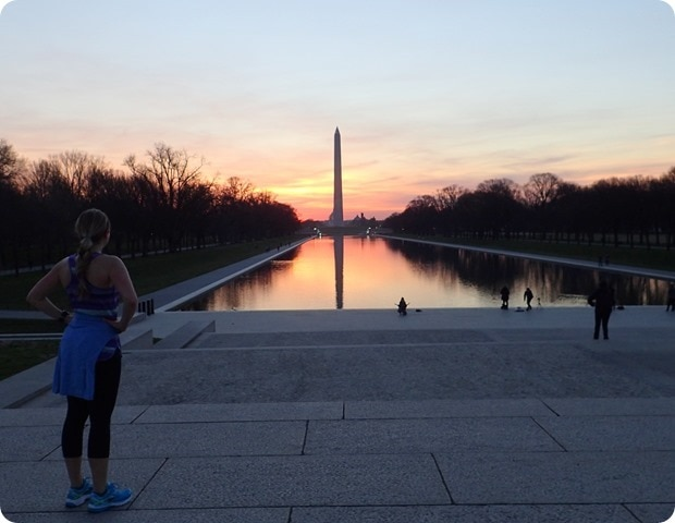 sunrise view from lincoln memorial