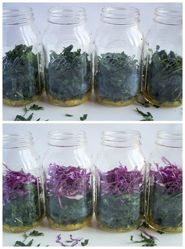 how to make a mason jar kale salad