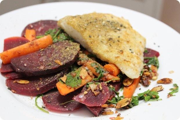 cod with beets carrots arugula