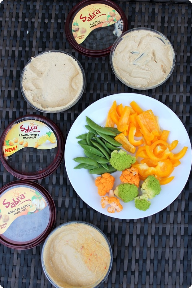 snack on hummus and veggies before dinner