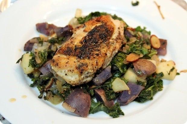 seared chicken with purple potato kale apple