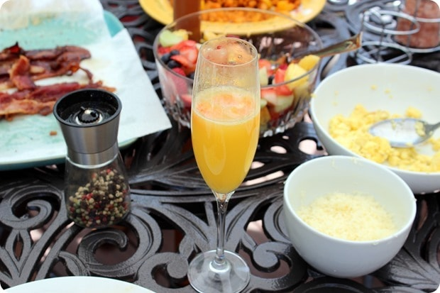 brunch at home mimosa