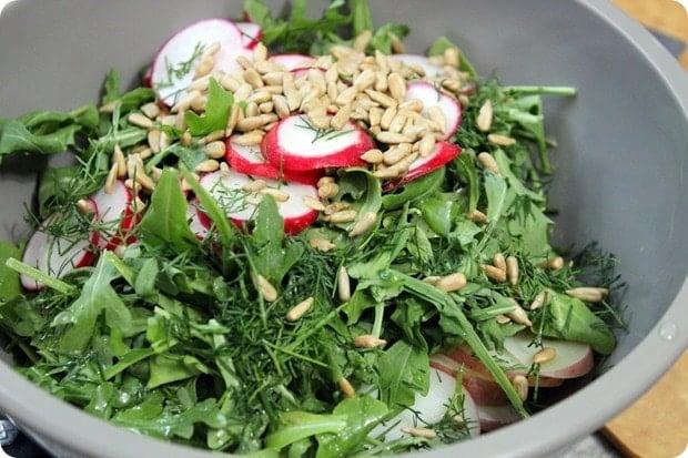 arugula red potato radish salad