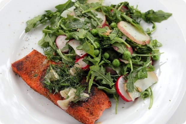 salmon with peas arugula and dill