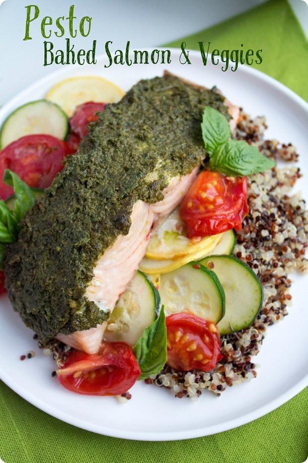 pesto baked salmon and veggies