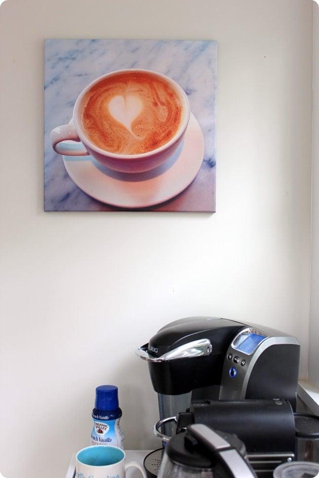 coffee shop heart canvas print