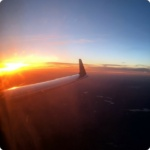 sunset from plane window