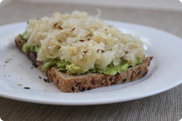 toast with avocado and sauerkraut