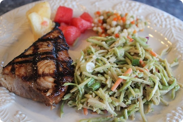 grilled tuna with peanut slaw