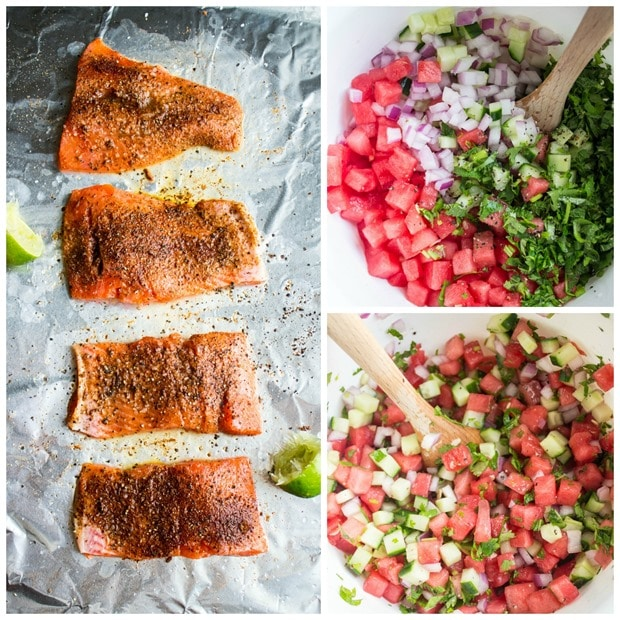 salmon with watermelon salsa step by step recipe