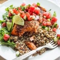 Roasted Salmon with Watermelon Salsa