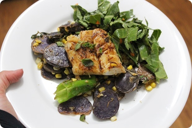 cod with purple potatoes