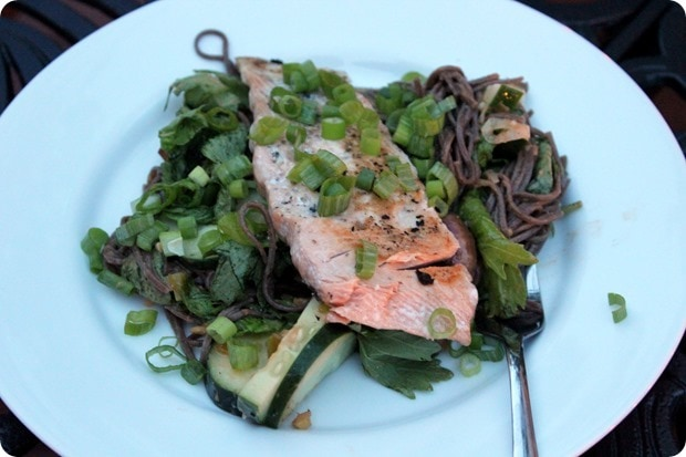 salmon with soba noodles