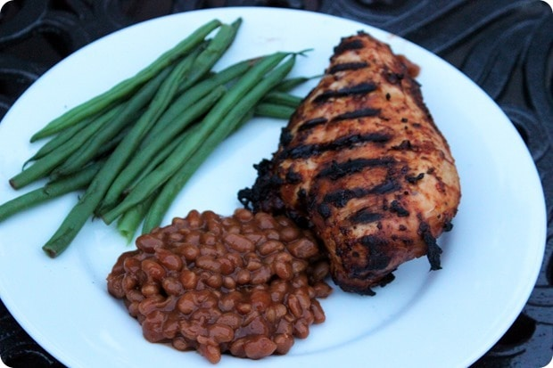grilled chicken with baked beans