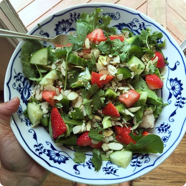 strawberries on salad