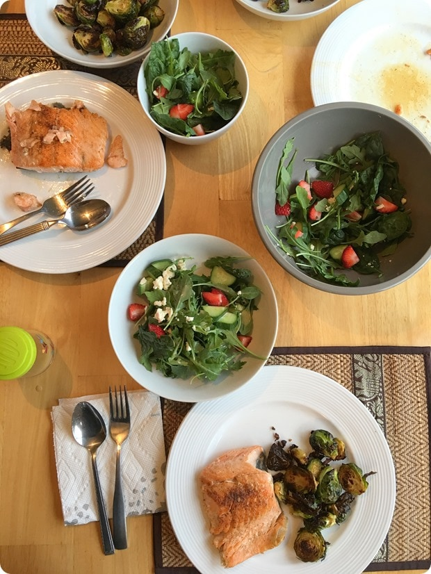 salmon brussels sprouts salad