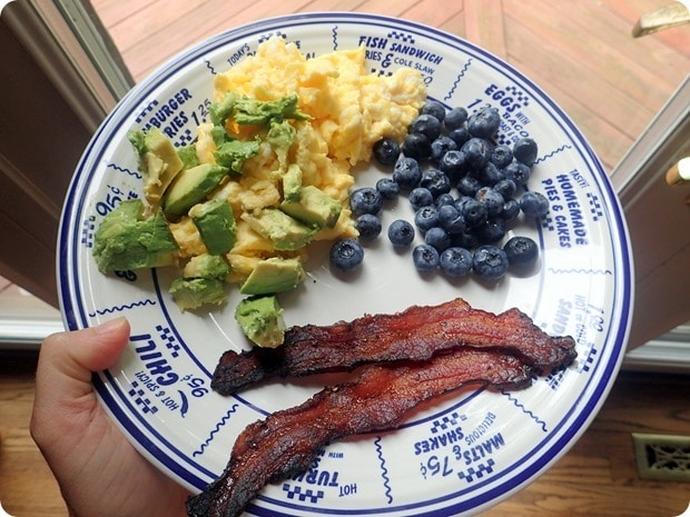 breakfast eggs avocado bacon blueberries