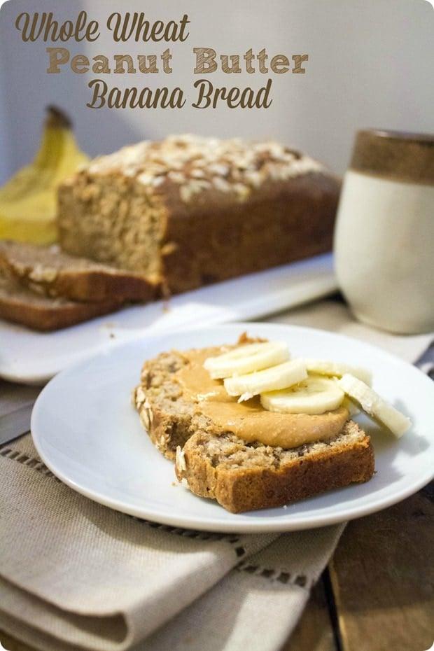 whole wheat PB banana bread