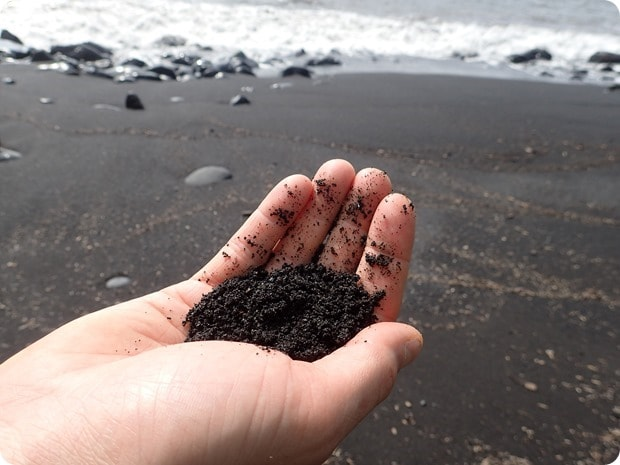 black lava sand beach maui