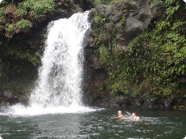 waterfall swimming road to hana