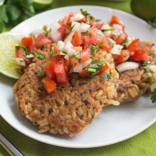 Salmon & Brown Rice Cakes with Fresh Salsa