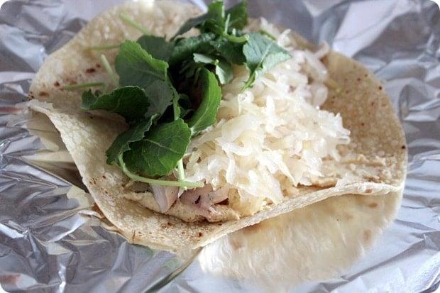 chicken sauerkraut wrap
