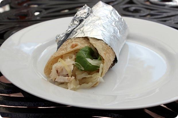 chicken hummus sauerkraut wrap
