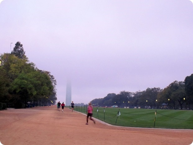 washington monument in fog
