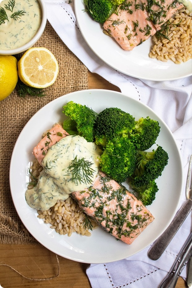 Baked Salmon with Lemon Mustard Dill Sauce Recipe