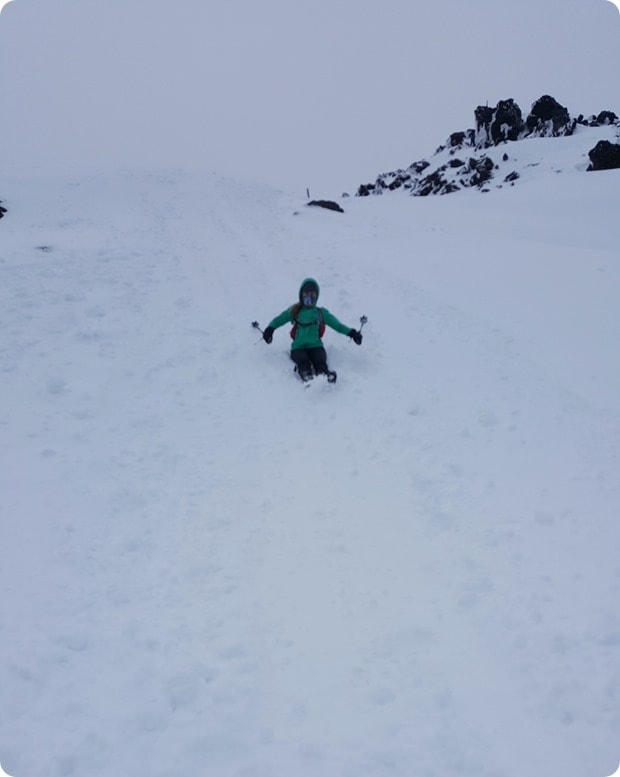 sliding down mt st helens snow