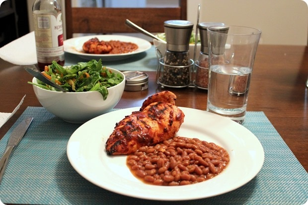 chicken with baked beans